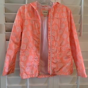 Cute orange and white raincoat. Girls size 10/12